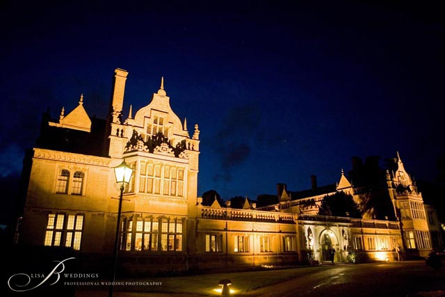 Night time at Rushton Hall wedding photography