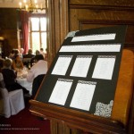 Seating arrangement at wedding in Rushton Hall