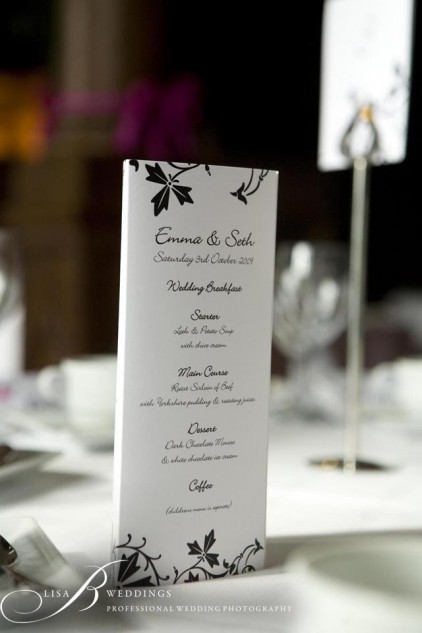Wedding Menu at Rushton Hall
