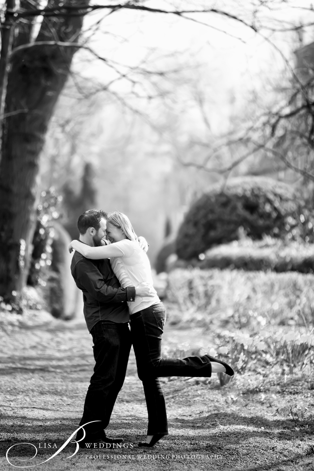 black and white candid photo of couple in garden