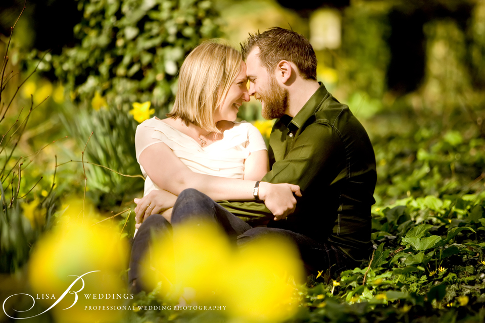here is a pre wedding photo with daffodils in the background