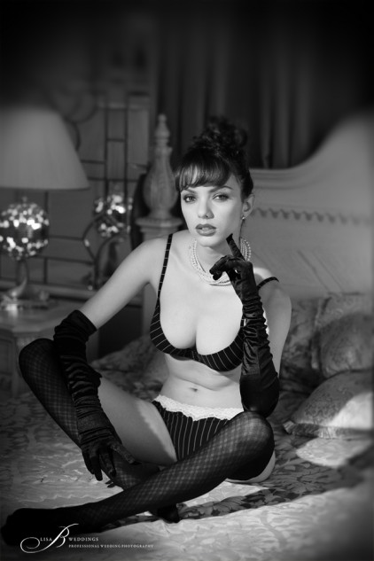 French Vintage Boudoir Photography Black and White