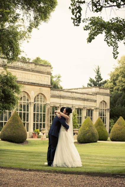 Wedding photo on Castle Ashby grounds