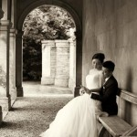 Romantic wedding couple at Castle Ashby