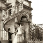 Sepia photo of wedding couple at Castle Ashby