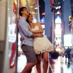 colour pre wedding photo in Times Square