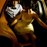 Pre wedding photo of couple in New York taxi