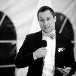 Black and whit photo of best man's speech