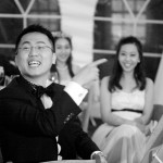 Groom's expression during best man's speech