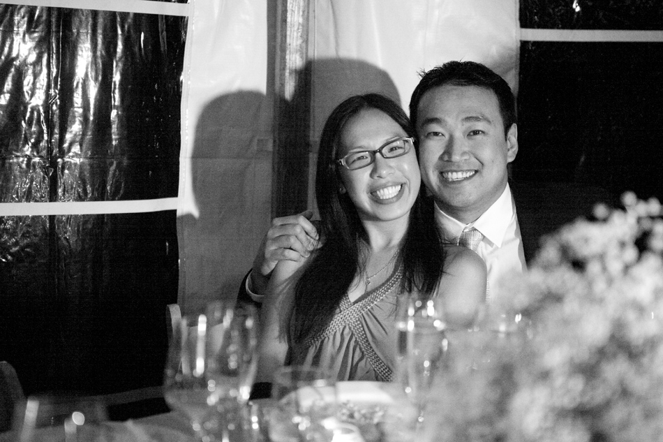 Happy Chinese couple at wedding reception