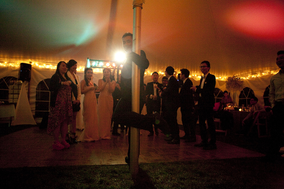 Pole dancing at wedding reception