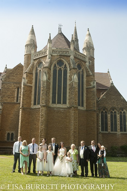 Wedding group photo at Saint Mathew's Church