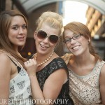 Trendy girls outside The Deco in Northampton during wedding reception