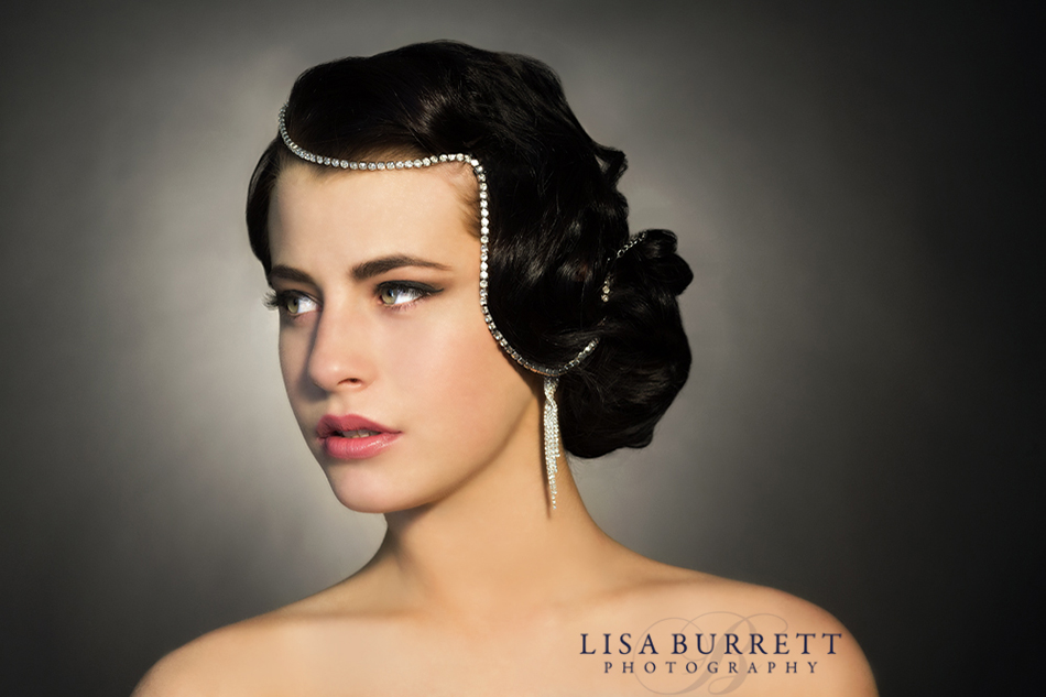 Beauty shot of woman with diamonds in her hair